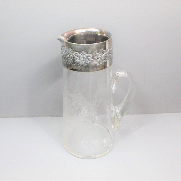 Vintage Crystal Pitcher w/Floral Silver Plate Rim